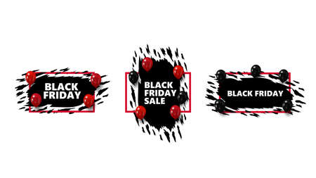 Set of Black Friday badges with abstract ragged shapes and black and red balloons. Black Friday signs, symbols 向量圖像