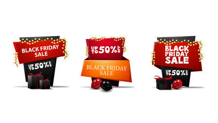 Large collection of Black Friday sale discount banners in cartoon style in the form of pointers