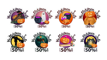 Halloween sale, up to 50% off, large collection of Halloween discount round banners with Halloween elements isolated on white background