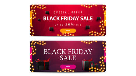 Set of Black friday sale discount banners with black present box. Red and purple horizontal discount banners isolated on white background 向量圖像