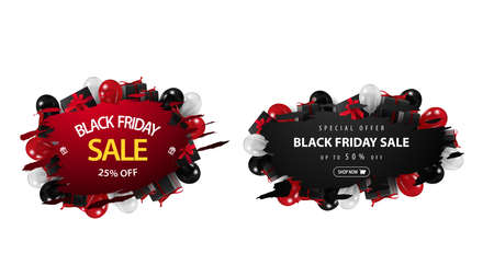 Black friday sale, set red and black discount banners with ragged corners in abstract forms decorated of balloons and presents isolated on white background