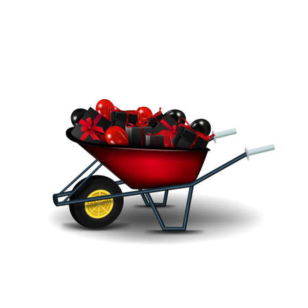 Garden red wheelbarrow with black presents and black and red balloons isolated on a white background. A garden wheelbarrow full of presents to Black Friday celebrations