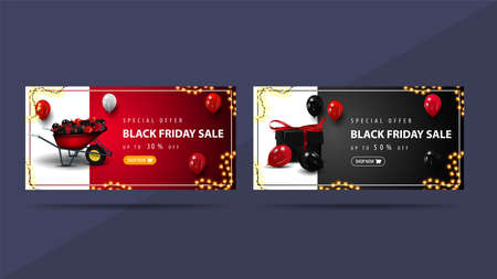Set of discounts banners to Black Friday with wheelbarrow and presents. Red and black discounts banners 向量圖像