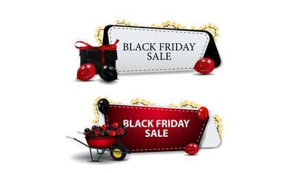 Black Friday Sale, set of discounts coupons isolated on white background. Discount coupons with presents and wheel barrow with presents