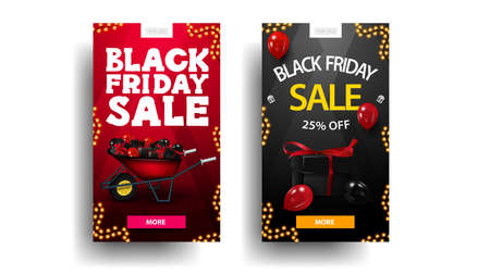 Set of Black Friday discount vertical banners with wheelbarrow with presents to black friday, balloons, garland frame and button for offer. Red and black discount banners isolated in white background