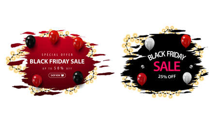Set of Black Friday discount banners with ragged shapes wrapped with garland. Red and black discount banners isolated in white background
