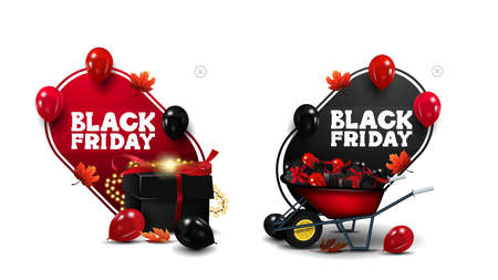Black Friday Sale, red and black discount banners in cartoon style in the form of abstract pointers with present box, wheelbarrow with presents and balloons in the air