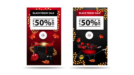 Black Friday Sale, up to 50 off, set of vertical discount banners isolated on white background. Red and Black banners with presents and garlands
