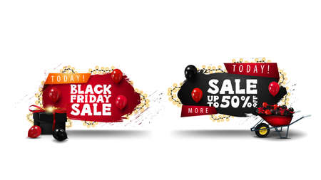 Special offer, Black Friday sale, set of discount 3D banner in geometrical shapes with ragged corners, garlands and 3D icons