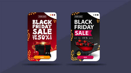 Set of vertical discount banners for Black Friday with wheelbarrow with presents and black gift box 向量圖像