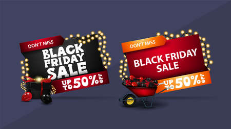 Black Friday sale, set of discount 3D banner in geometrical shapes with 3D icons