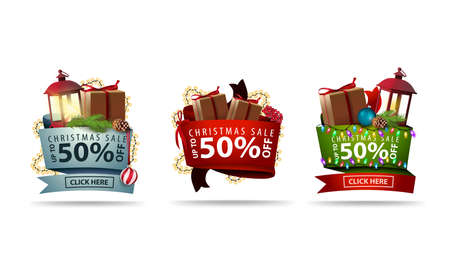 Set of Christmas 3D volumetric stickers decorated with presents and Christmas elements. Discount banners isolated on white background
