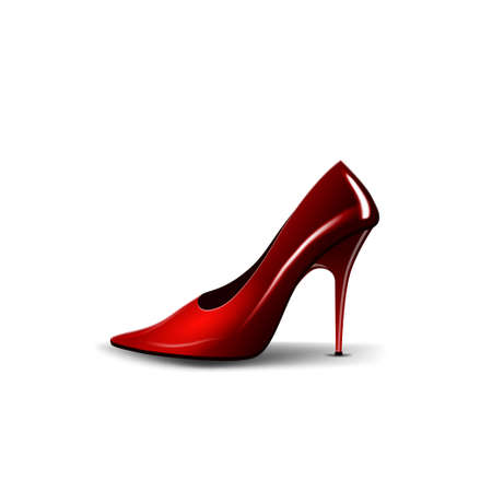 Womens red Shoe isolated on white background for your creativity