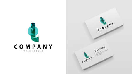Logo polygon with the letter L. Mockup of business cards with a logo Logó