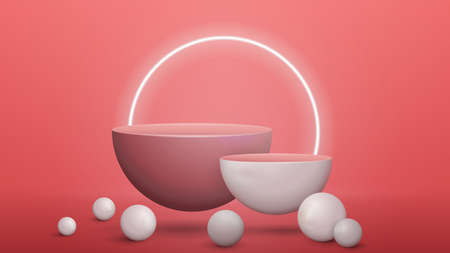 Pink abstract scene with empty semicircular pedestals with realistic spheres around. Scene for your product presentation