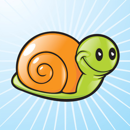 happy kids: vector snail