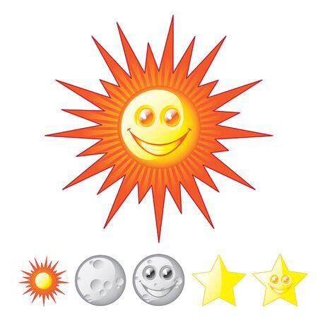 zon maan: Zon, maan, sterren