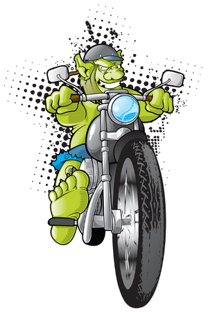 Motorcycle Gang Troll Illustration