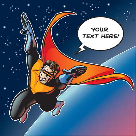 hero with cape flying above a planet. Vector file is layered so visor can be removed and eyes can be seen (if needed).