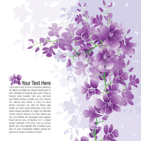 Page layout of purple orchids with possible text placement. Vectores