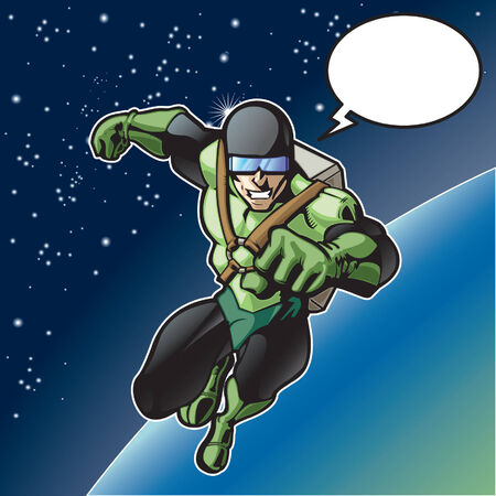 Super hero with rocket pack above a planet. Ilustracja