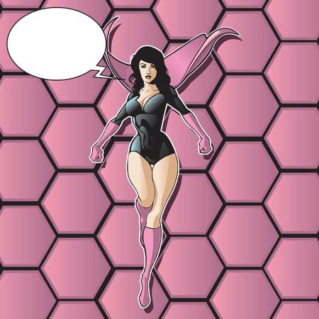 Super held of schurk vrouwelijke vliegen tegen abstracte achtergrond.