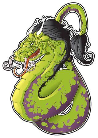 어두운 흐르는 머리와 아시아 뱀 용.