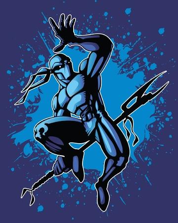 ninja: Kampfsportler in einem dynamischen K�mpfe Position.