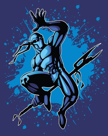 Martial artist in a dynamic fighting position. Vector