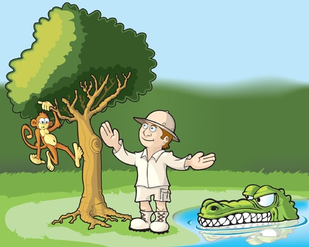 Explorer admiring a monkey in a tree and unaware of the danger he is in. Illustration