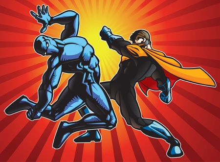 comic book: Super hero and a ninja doing battle.