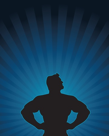 super human: Heroic silhouette of a confident male figure. Illustration