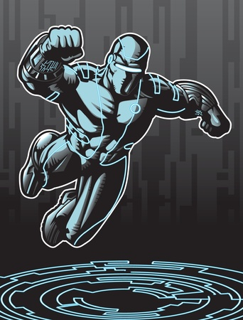 Technologically advanced looking superhero in a cyber environment.