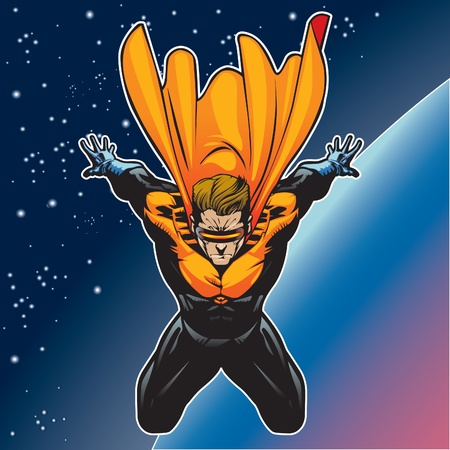 super star: Super hero with cape flying above a planet.
