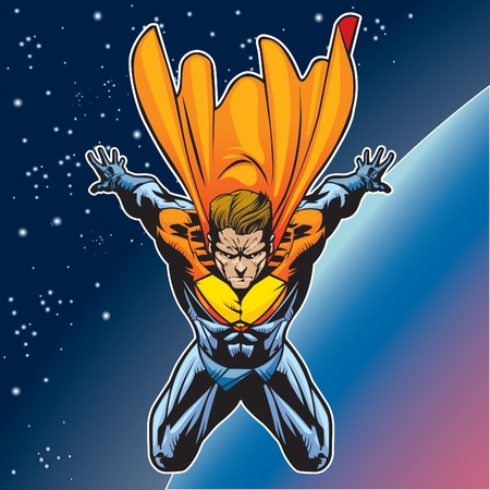 Generic superhero figure flying above a planet. Vector