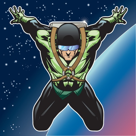 tough man: Super hero with rocket pack above a planet. Illustration