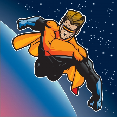 flying man: Super hero with cape flying above a planet  Illustration