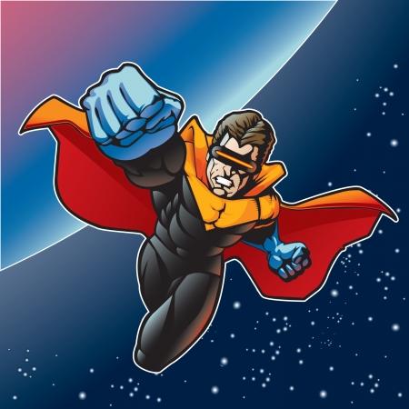 super human: Super h�roe con capa volando por encima de un planeta