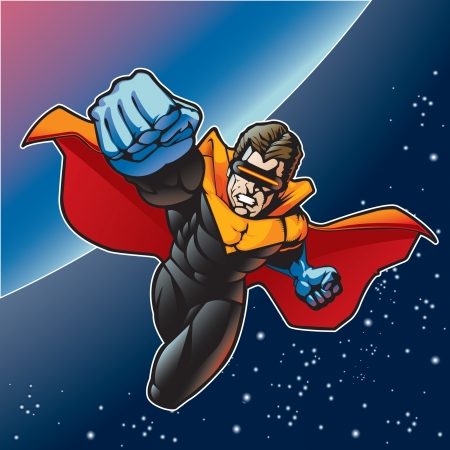 fantasy art: Super hero with cape flying above a planet  Illustration
