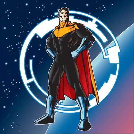 estrella caricatura: Super h�roe con capa por encima de un planeta