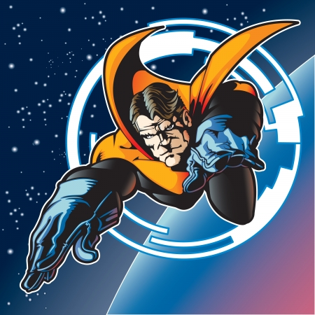 Super hero with cape flying above a planet  Ilustracja