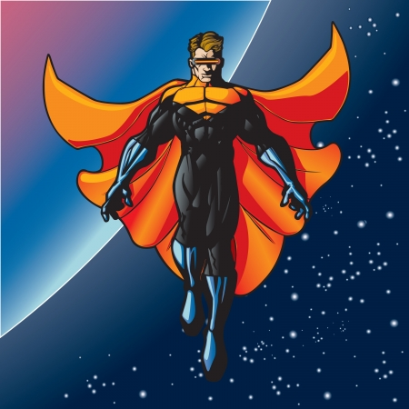 Super hero with cape flying above a planet  Illusztráció