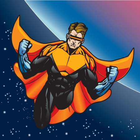 Super hero with cape flying above a planet  Stock Vector - 14312696