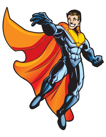 superhero: Stylized flying hero that is happy and positive