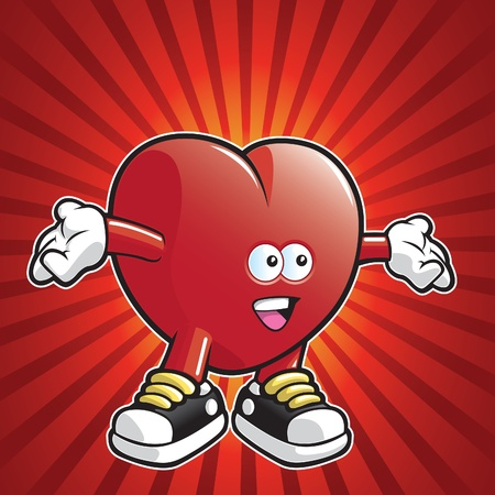 Cartoon heart wearing shoes with arms stretched out  Ilustracja