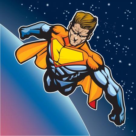 Generieke superheld figuur vliegen boven een planeet