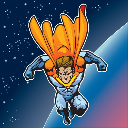 Generic superhero figure flying above a planet  Vector