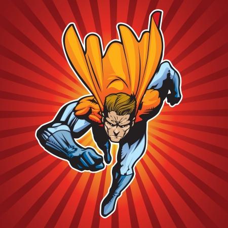 super star: Generic superhero figure running forward at a fast pace  Illustration