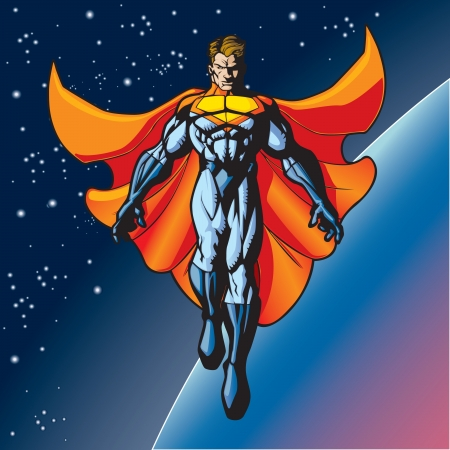 super guy: Generic superhero figure floating above a planet