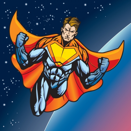 tights: Generic superhero figure flying above a planet